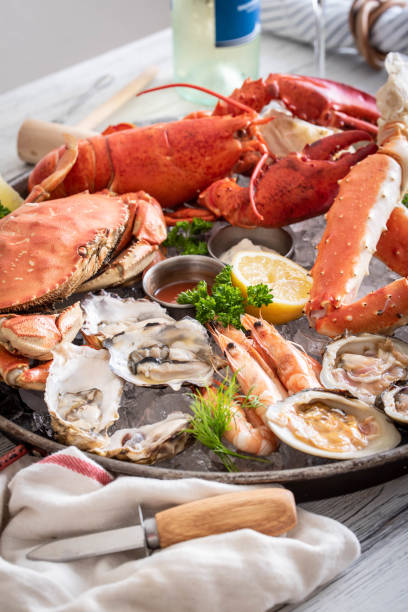 gorgeous seafood platter image stock photo