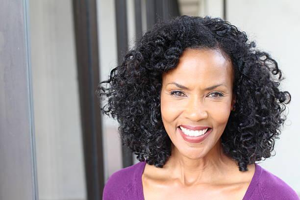 Gorgeous senior African American woman stock photo