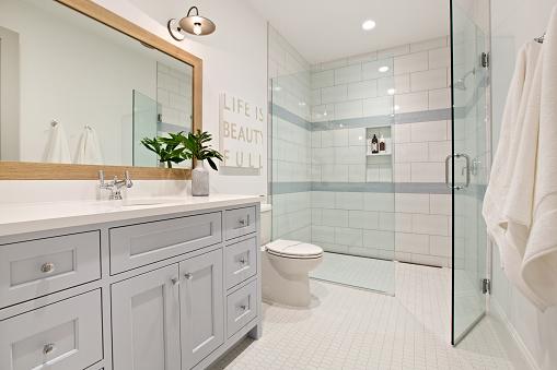 Sleek design in well planned bathroom
