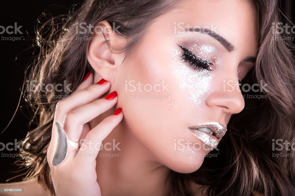 Gorgeous Silver Glitter Make Up On Eyes And Lips Stock