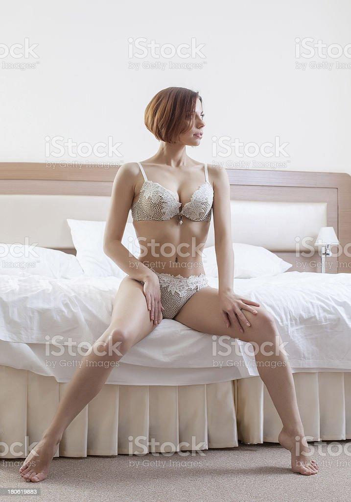 Gorgeous slim woman posing in erotic lingerie royalty-free stock photo