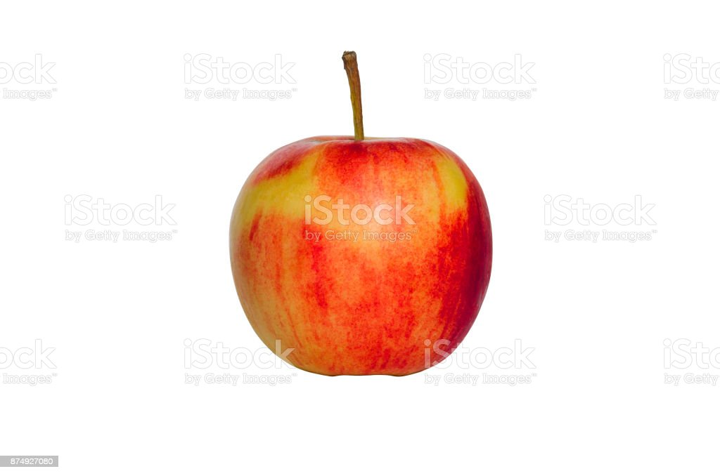 gorgeous small red apple colorful ripe and fresh and look delicious isolated on white background with clipping path. stock photo