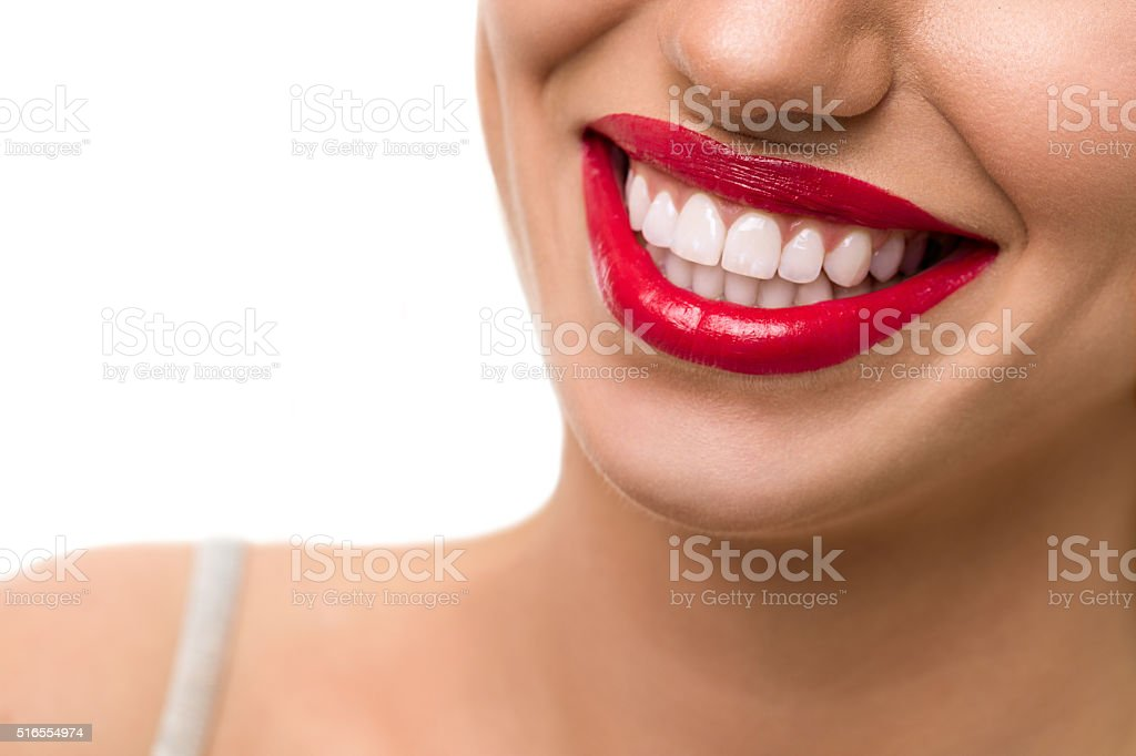 Gorgeous smile with red lips stock photo