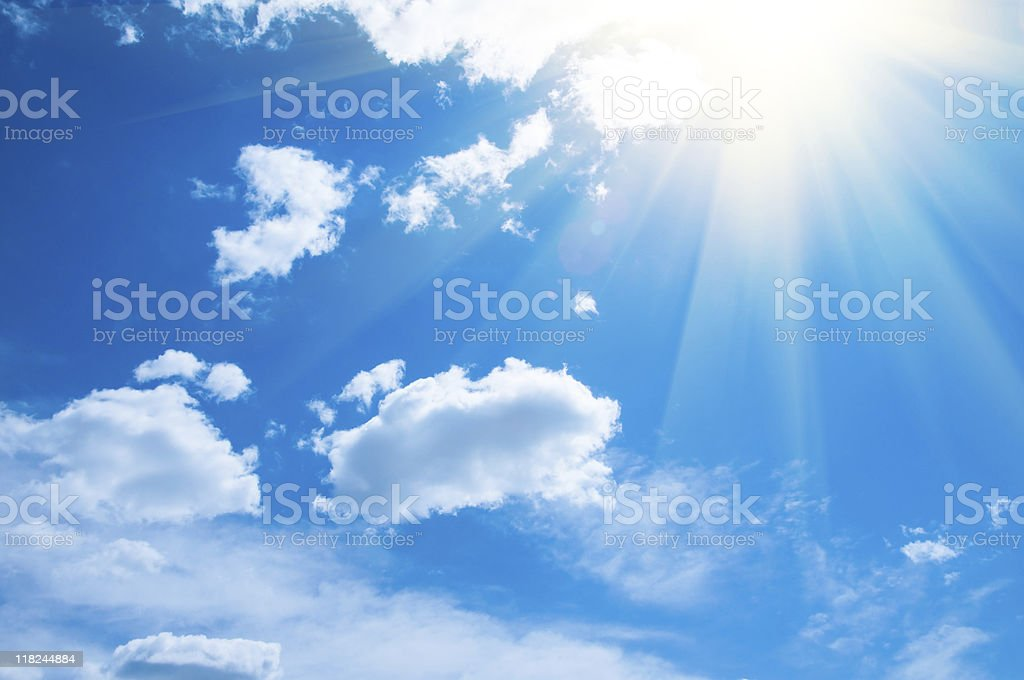 Gorgeous, sunny blue sky with white clouds royalty-free stock photo