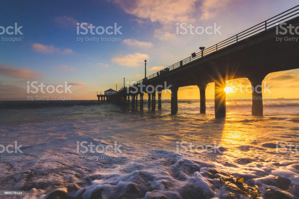 Gorgeous Sunset At Manhattan Beach Pier Stock Photo More Pictures
