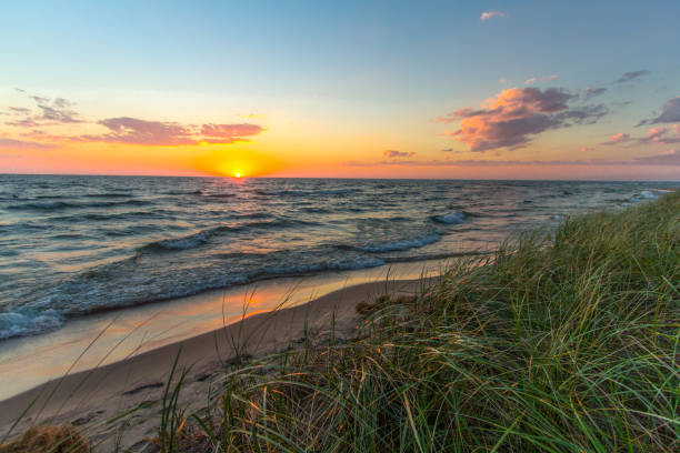 Gorgeous Sunset Sky On Lake Michigan Horizon In Muskegon stock photo