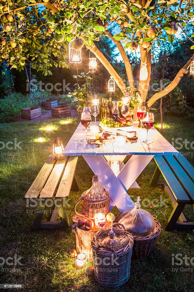 Gorgeous table full of cheese and meats in garden - foto de acervo