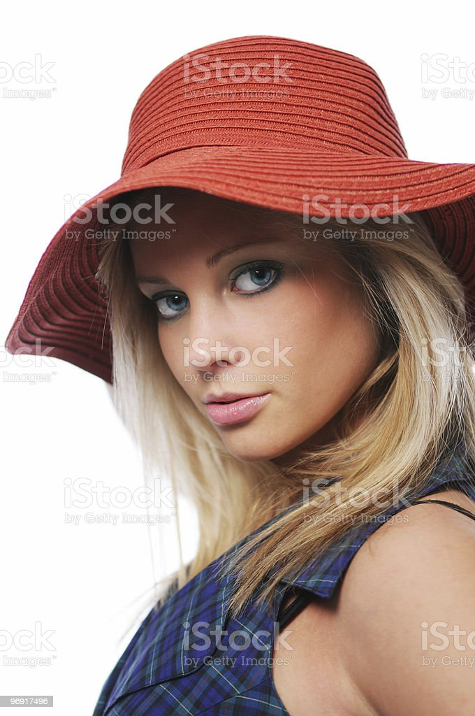 Gorgeous teen girl wit red hat royalty-free stock photo