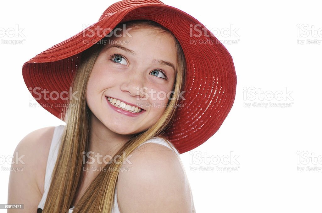 Gorgeous teen girl with red hat royalty-free stock photo