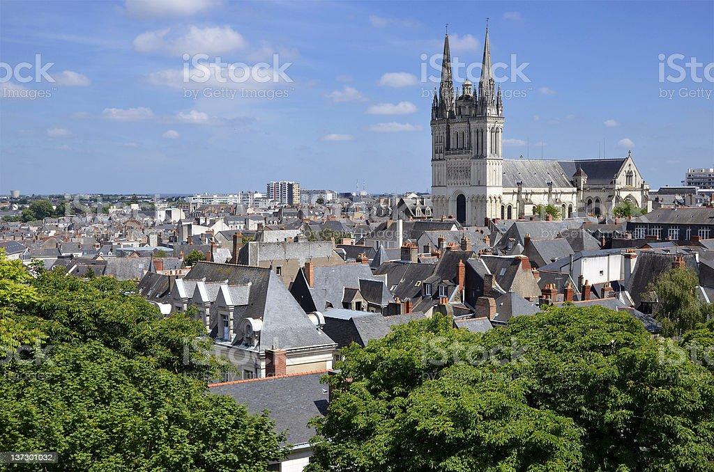 Gorgeous view of Cathedral Saint Maurice at Angers in France stock photo