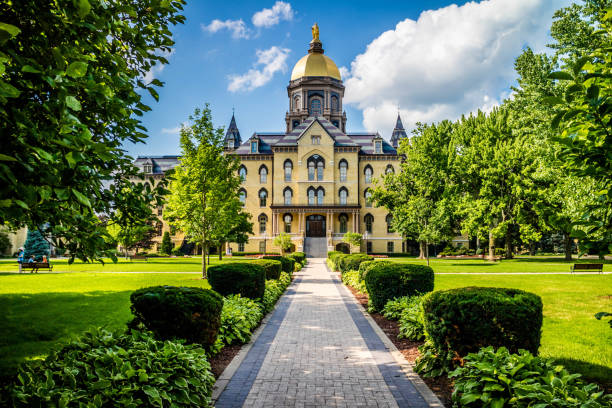 A gorgeous view of the campus while taking a stroll inside of Notre Dame stock photo