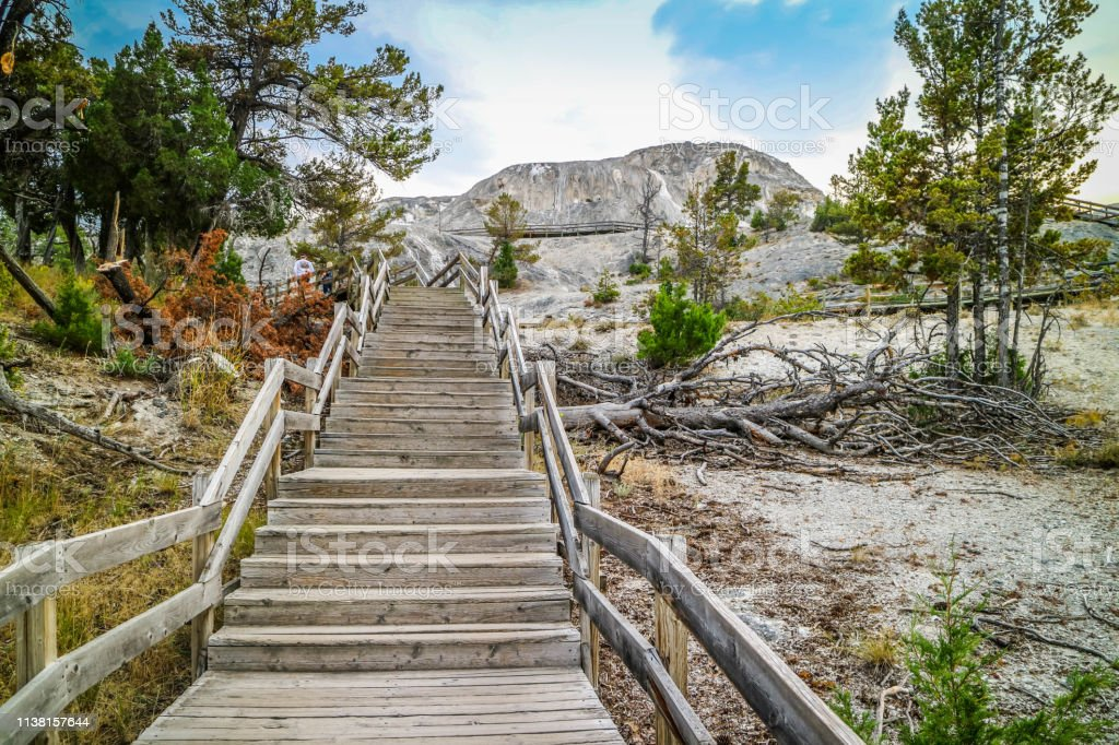 A gorgeous view of the naturally formed rocks in Yellowstone National Park, Wyoming stock photo