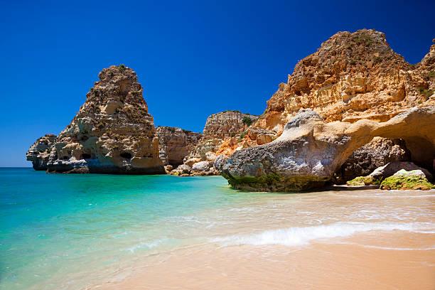 A gorgeous view of the water in Praia da Marinha stock photo