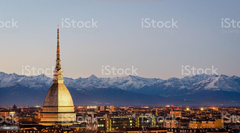 Gorgeous view of Turin, Mole Antonelliana and Alps stock photo