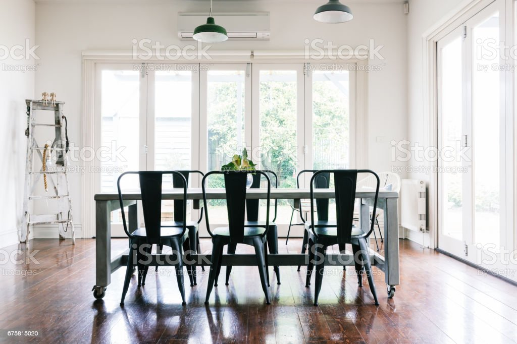 Gorgeous vintage styled dining room stock photo