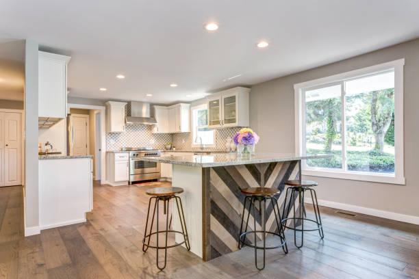 Gorgeous white kitchen with bar style island. stock photo