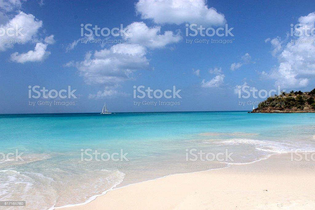 Gorgeous White Sand Beach in Antigua stock photo