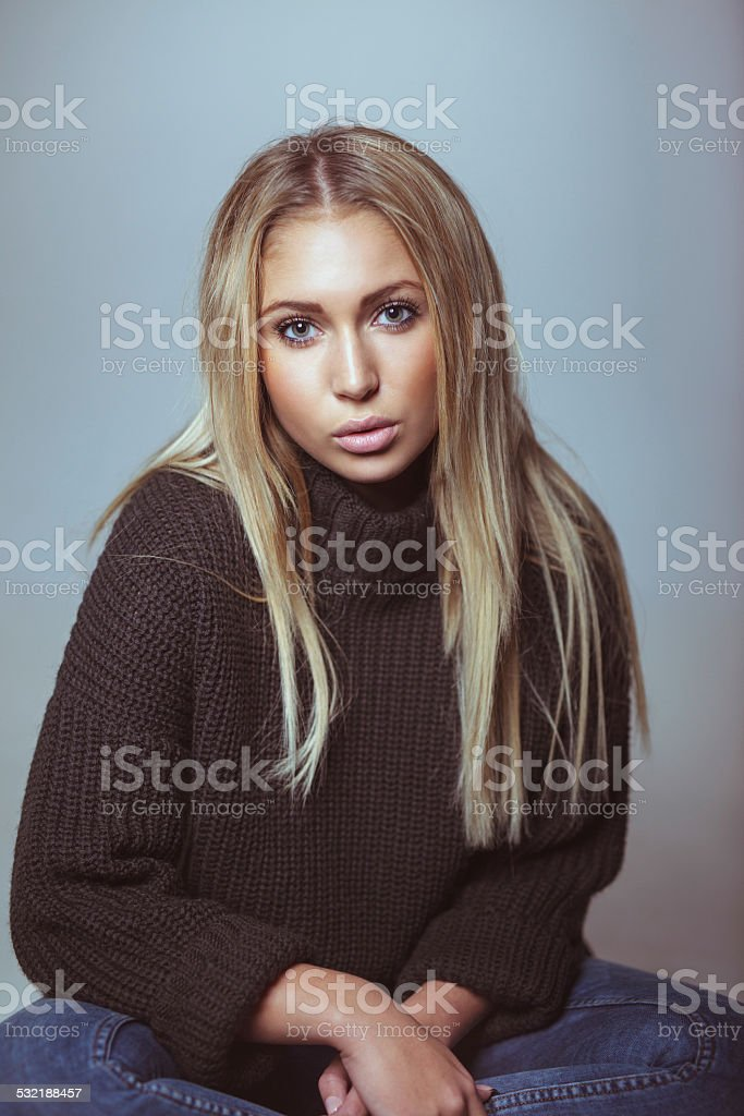 Gorgeous woman in casual outfit stock photo