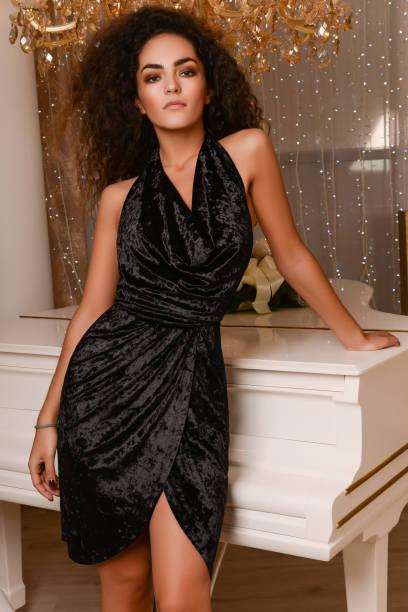 Gorgeous woman in luxury interior stock photo