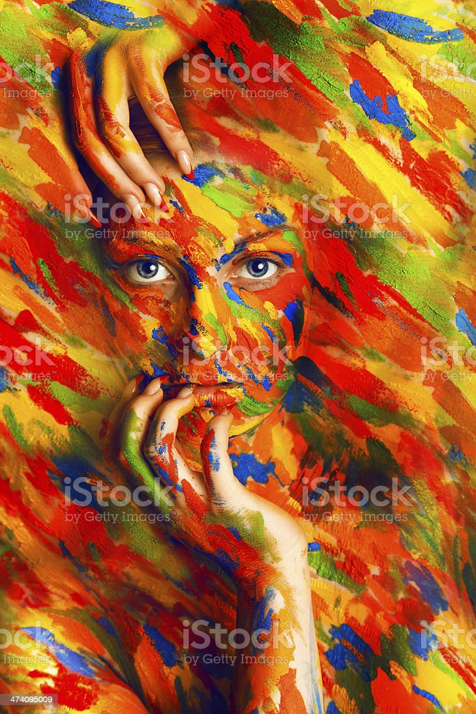 gorgeous woman in paint strokes royalty-free stock photo