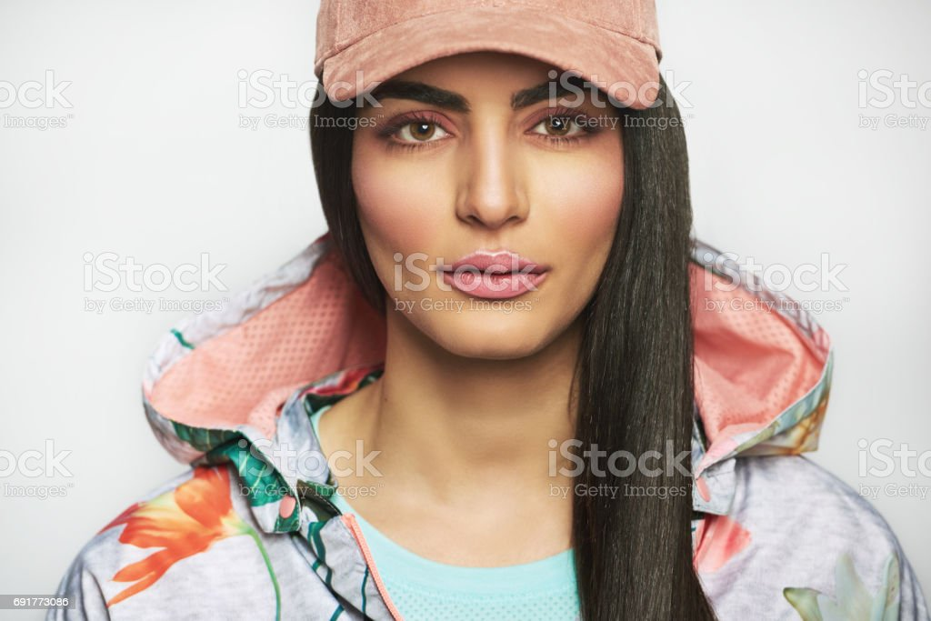 Gorgeous woman in sports outfit stock photo