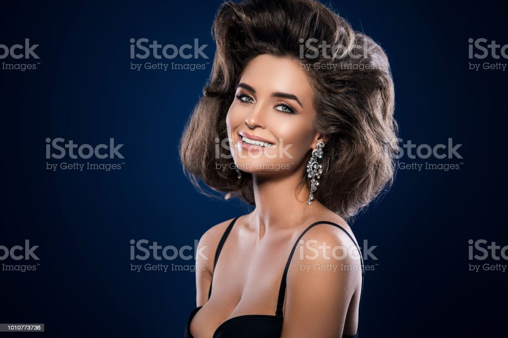 Gorgeous woman with a beautiful hairstyle and make-up stock photo