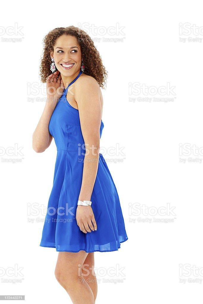 check out 2c91e 80ea6 Magnifica Giovane Donna In Abito Blu Guardando Lontano ...
