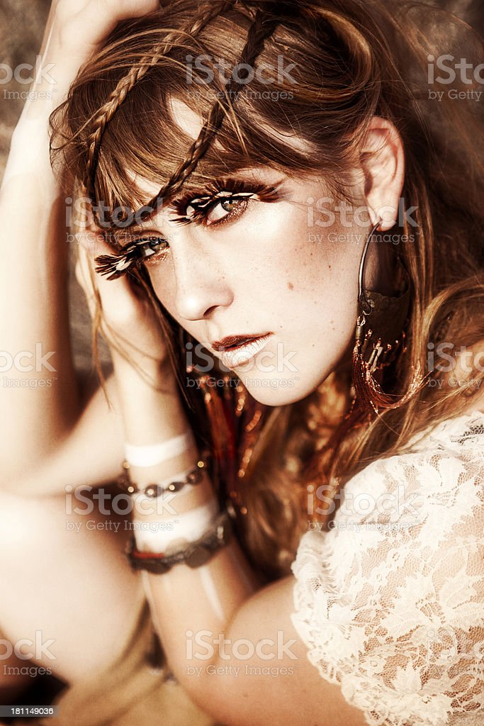 Gorgeous Young Woman with Feather Lashes royalty-free stock photo