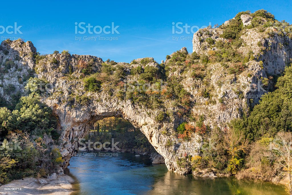 Gorges de l'Ardeche - Pont d´Arc - Vallon (France) stock photo