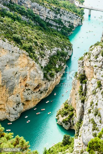 Tourists are enjoying a warm summer day - and pedal into the Gorge du Verdon, Provence/France.