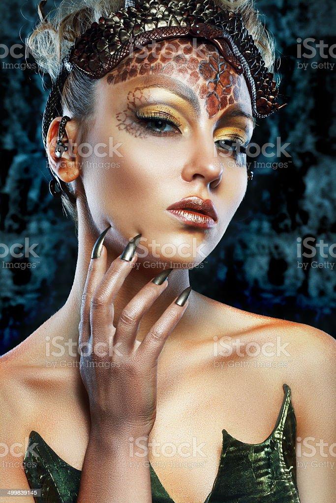Gorgon girl in dungeon stock photo
