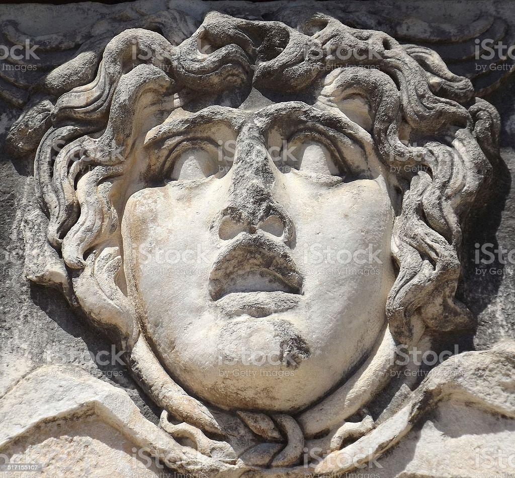 Gorgon Medusa in temple of Apollo (Didim) stock photo