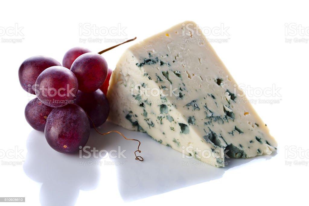 Gorgonzola and grape isolated on  white stock photo