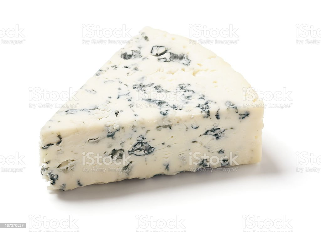 Gorgonzola Bleu Cheese Wedge on White Background stock photo