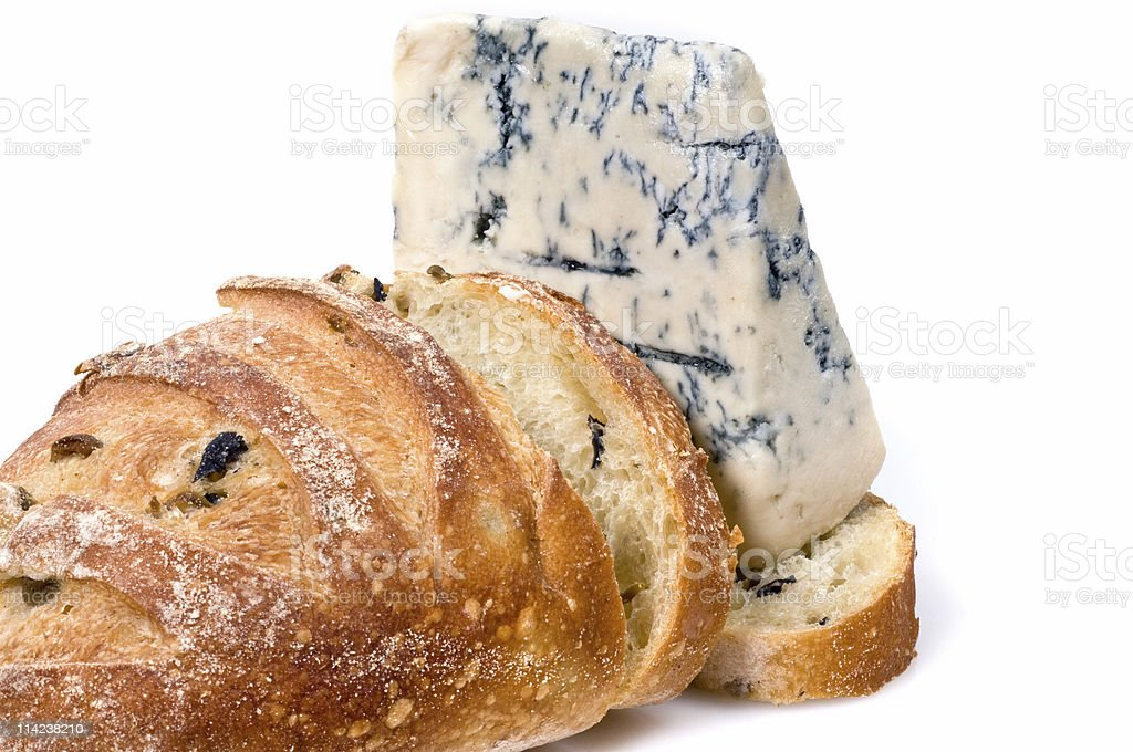 gorgonzola cheese and olive bread royalty-free stock photo