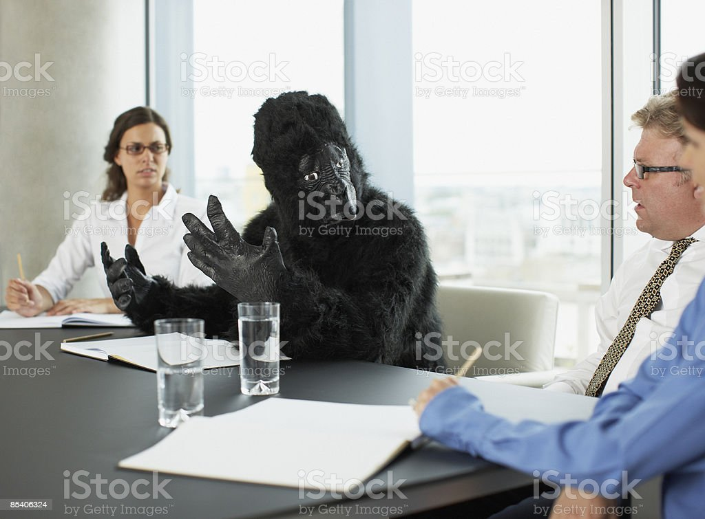 Gorilla and businesspeople having meeting in conference room stock photo
