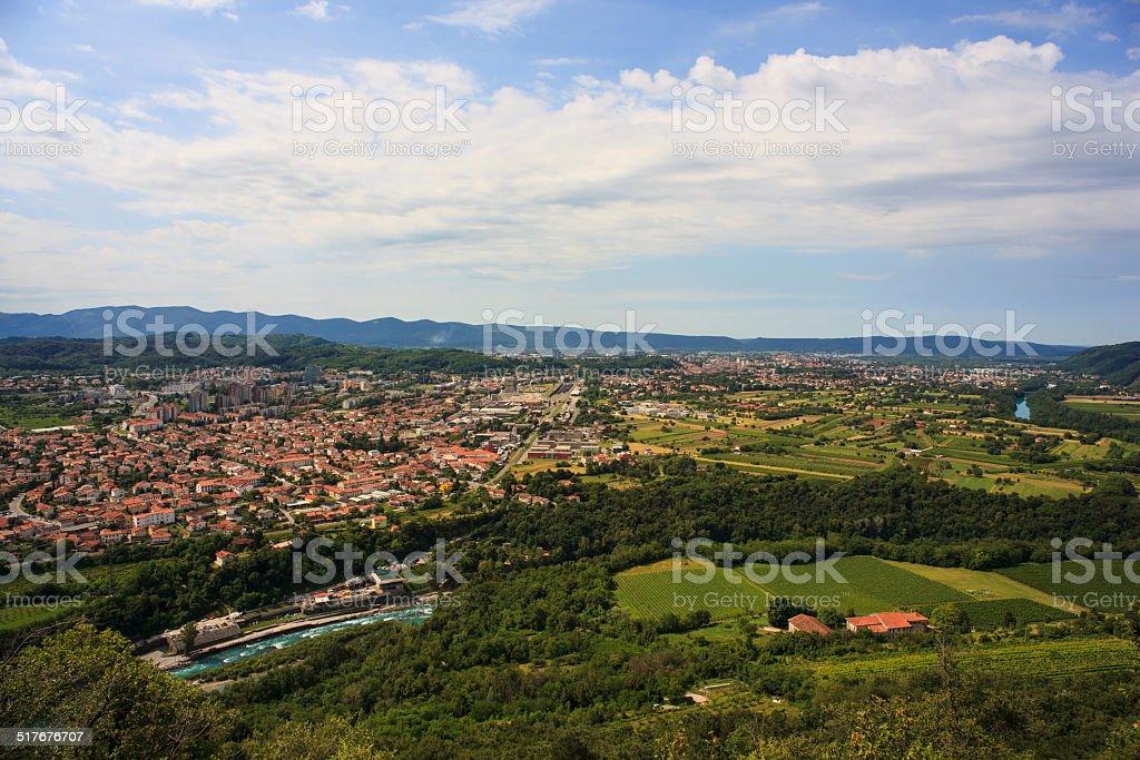 Gorizia and Nova Gorica stock photo