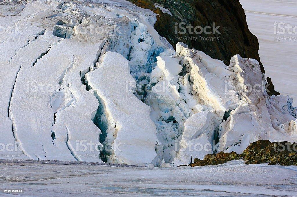Gorner Glacier crevasses collapsing close up background, Swiss Alps stock photo