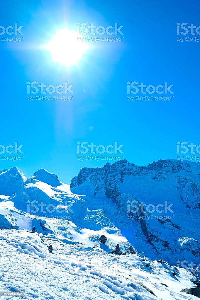Gorner Glacier Panorama view in the Alps. stock photo