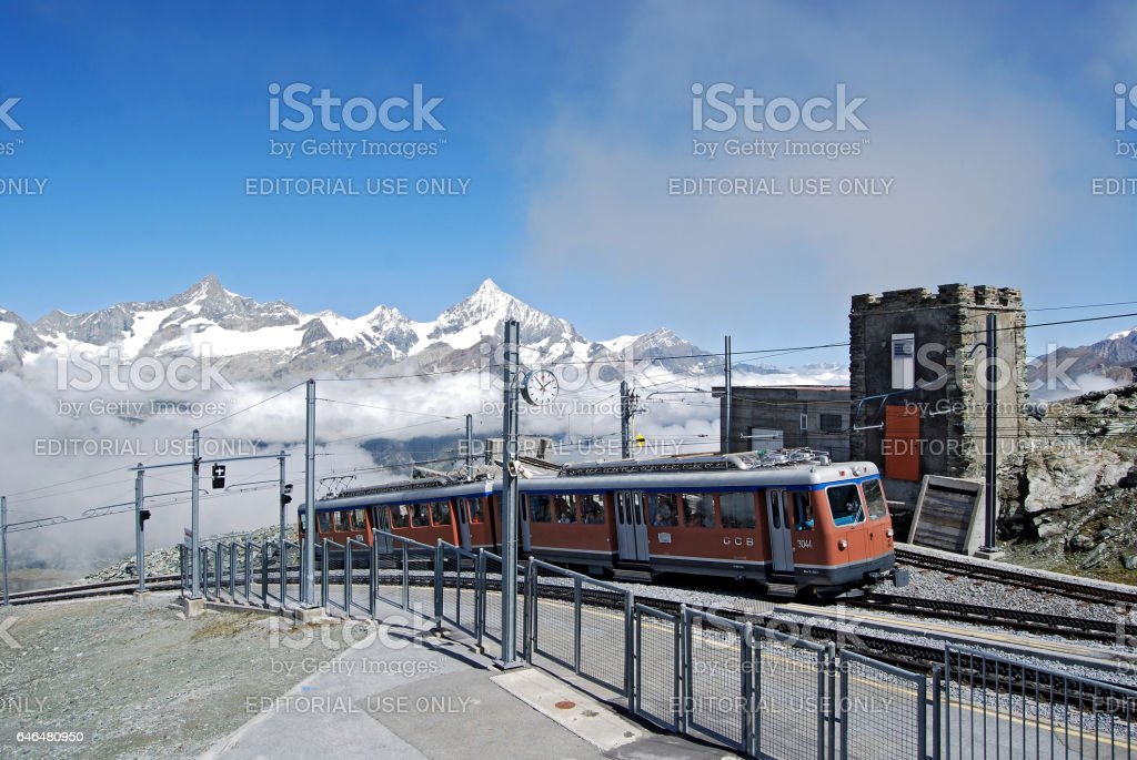Gornergrat Railway station stock photo