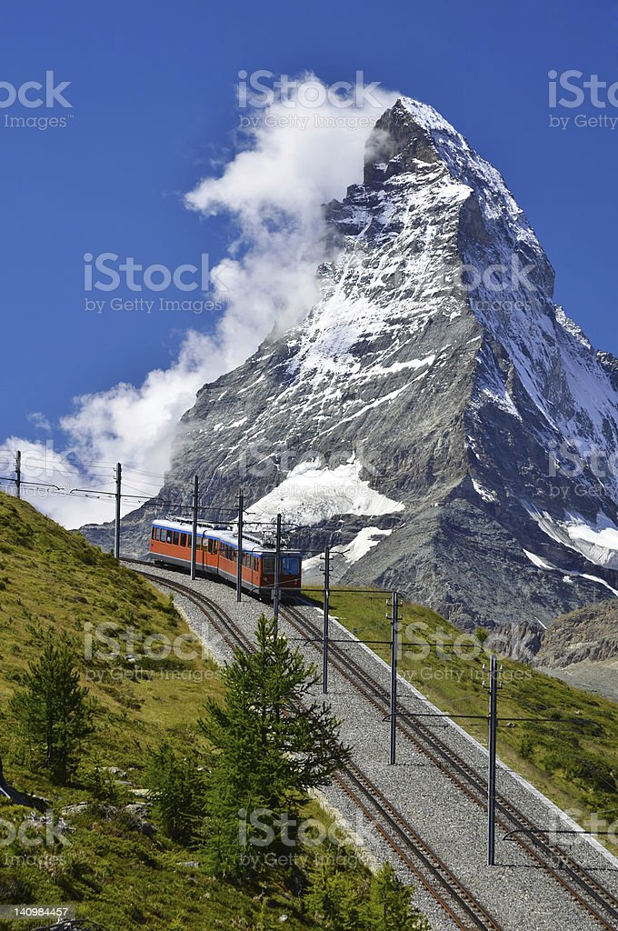 Gornergrat Train and Matterhorn Mountain, Switzerland stock photo