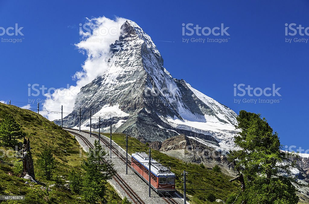 Gornergrat train and Matterhorn. Switzerland stock photo