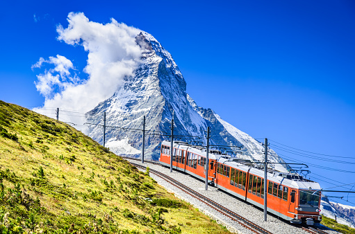 Matterhorn, Switzerland. Gornergratbahn is a 9 km long gauge mountain rack railway leading from Zermatt (1604 m), up to the Gornergrat (3089 m).