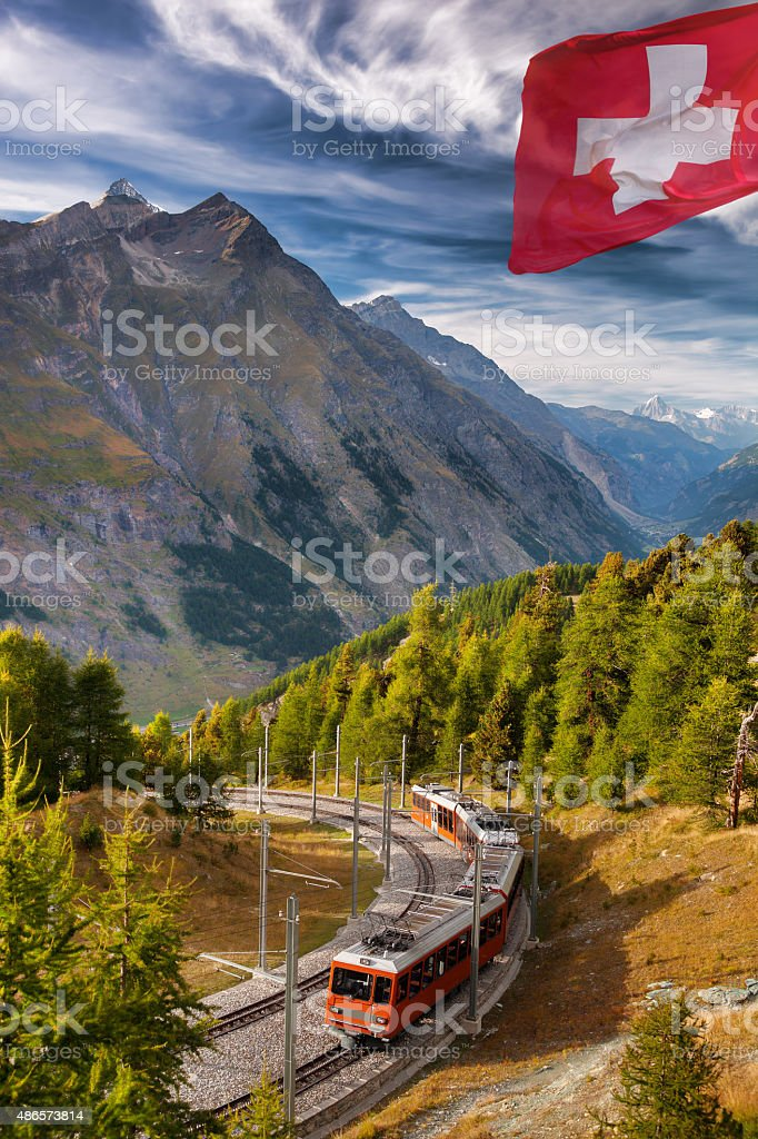 Gornergrat train with famous Alps, Matterhorn area in Switzerland stock photo