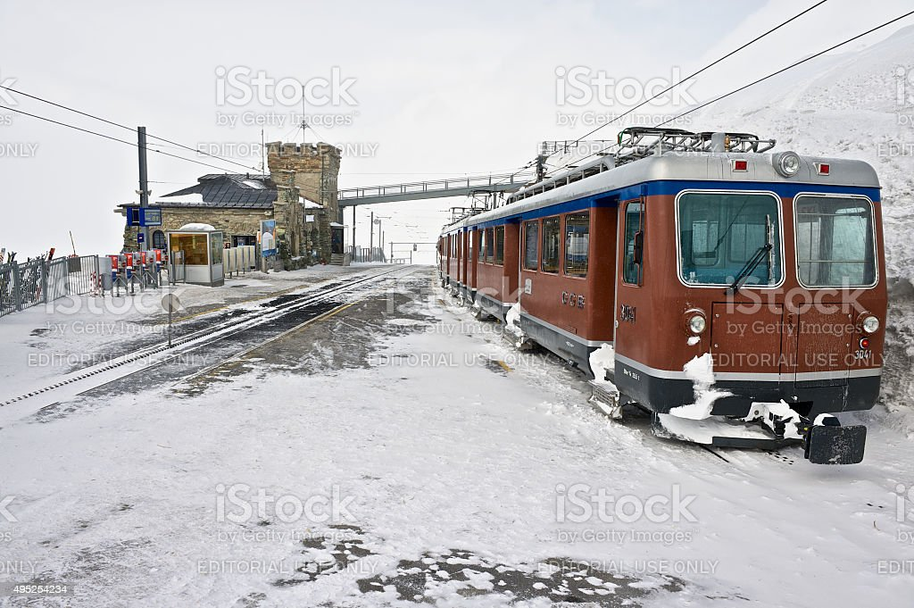 Gornergratbahn railway station and the train in Zermatt, Switzerland. stock photo