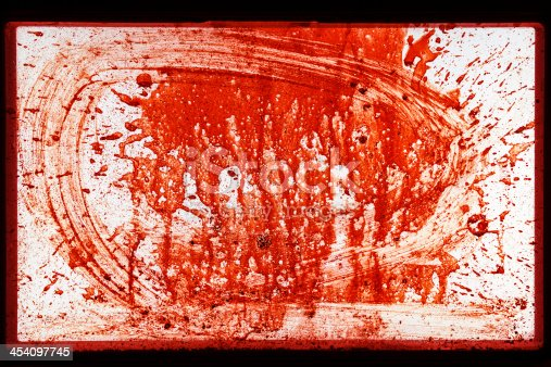 172646637 istock photo Gory Splattered Dripping Red Blood Window Horror Abstract Background Texture 454097745