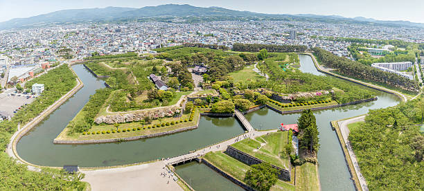 Goryokaku park view from Goryokaku tower. stock photo