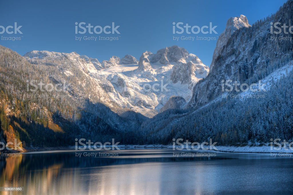 Gosausee with Glacier Dachstein in back - Nature Reserve Austria stock photo