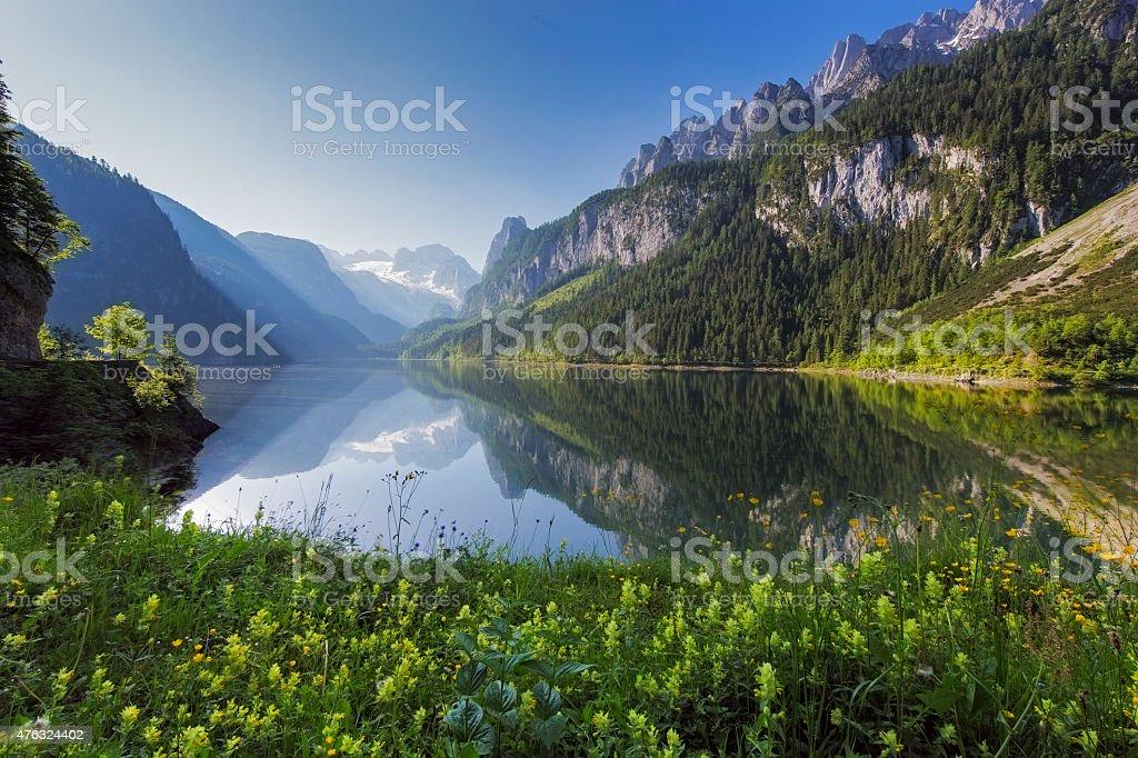 Gosausee mit Glacier Dachstein in back-Naturreservat Österreich Lizenzfreies stock-foto