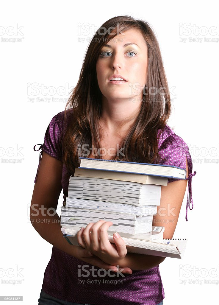 Gosh, these books are heavy royalty-free stock photo